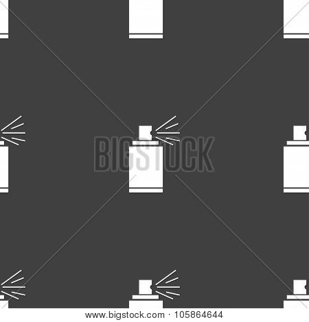 Graffiti Spray Can Sign Icon. Aerosol Paint Symbol. Seamless Pattern On A Gray Background.