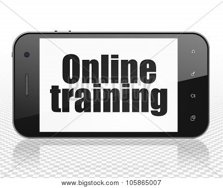 Learning concept: Smartphone with Online Training on display