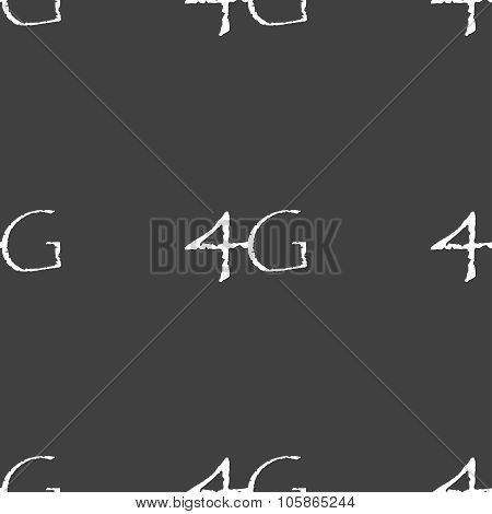 4G Sign Icon. Mobile Telecommunications Technology Symbol. Seamless Pattern On A Gray Background.
