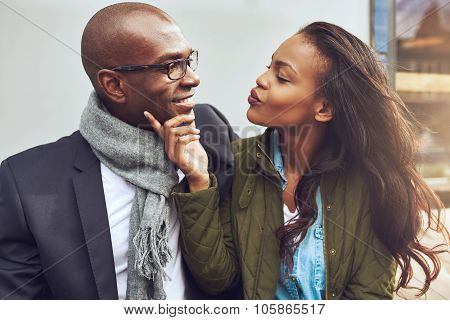 Flirting Young African American Woman
