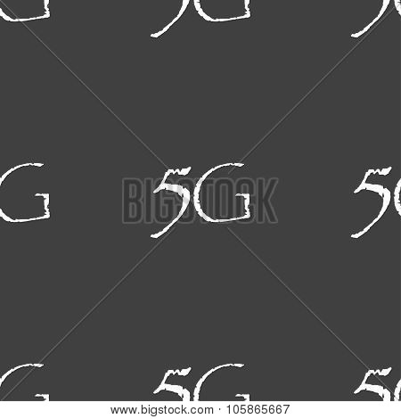 5G Sign Icon. Mobile Telecommunications Technology Symbol. Seamless Pattern On A Gray Background.