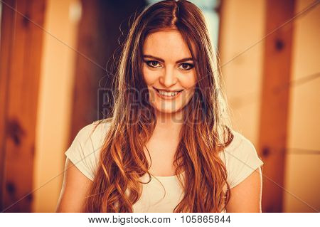 Portrait Of Happy Cute Pretty Young Woman Girl.