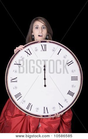 So Late ! Young Woman With Open Mouth And Clock Showing Midnight