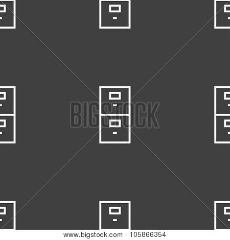 Safe Sign Icon. Deposit Lock Symbol. Seamless Pattern On A Gray Background.