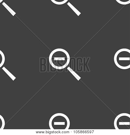 Magnifier Glass, Zoom Tool Icon Sign. Seamless Pattern On A Gray Background.