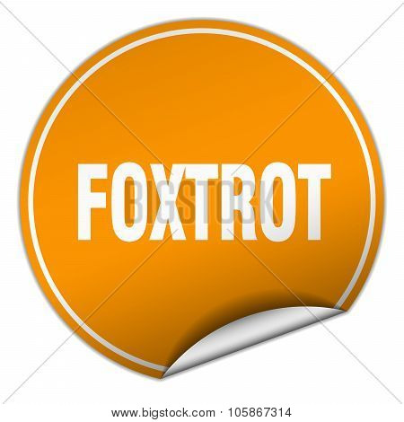 Foxtrot Round Orange Sticker Isolated On White
