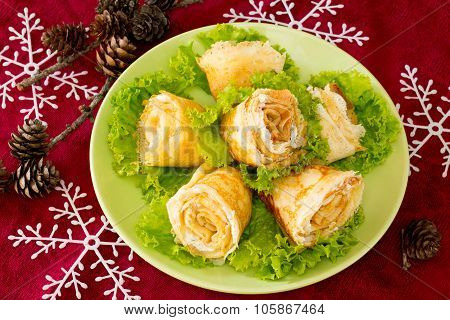Stuffed Pancakes Rose Cream Cheese Cottage Cheese New Year's Eve