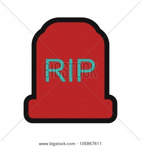Flat with shadow Icon headstone on a colored background