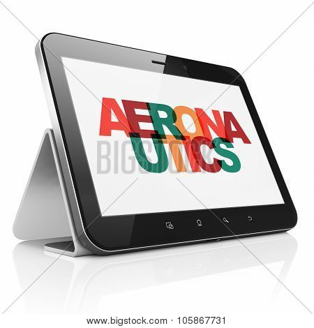 Science concept: Tablet Computer with Aeronautics on  display