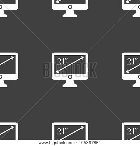 Diagonal Of The Monitor 21 Inches Icon Sign. Seamless Pattern On A Gray Background.