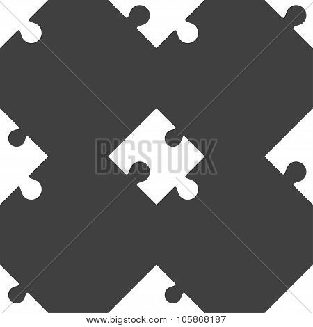 Puzzle Piece Icon Sign. Seamless Pattern On A Gray Background.