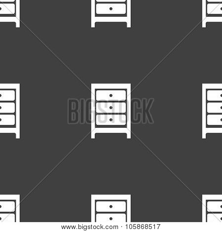 Nightstand Icon Sign. Seamless Pattern On A Gray Background.