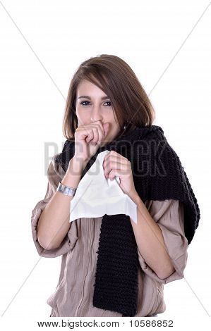 Young Woman Having The Flue