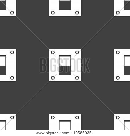 Power Switch Icon Sign. Seamless Pattern On A Gray Background.