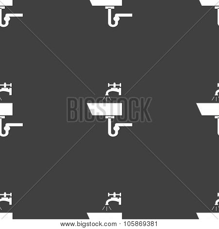 Washbasin Icon Sign. Seamless Pattern On A Gray Background.