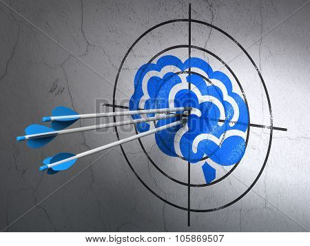 Health concept: arrows in Brain target on wall background