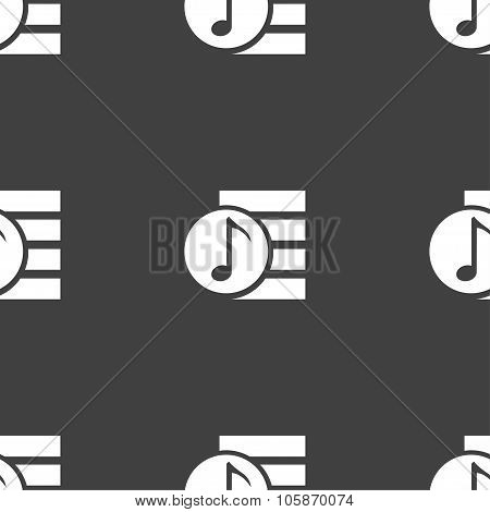 Audio, Mp3 File Icon Sign. Seamless Pattern On A Gray Background.
