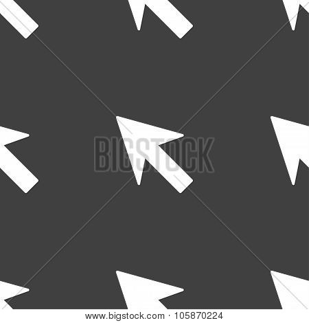 Cursor, Arrow Icon Sign. Seamless Pattern On A Gray Background.
