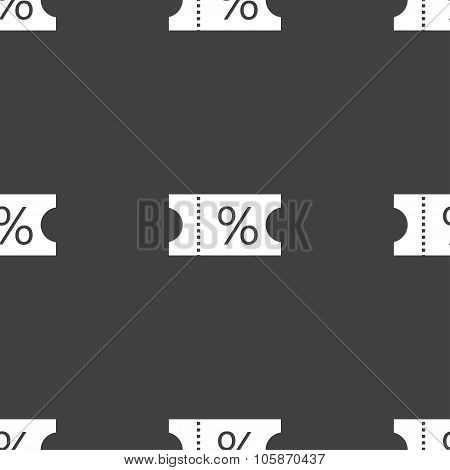 Ticket Discount Icon Sign. Seamless Pattern On A Gray Background.