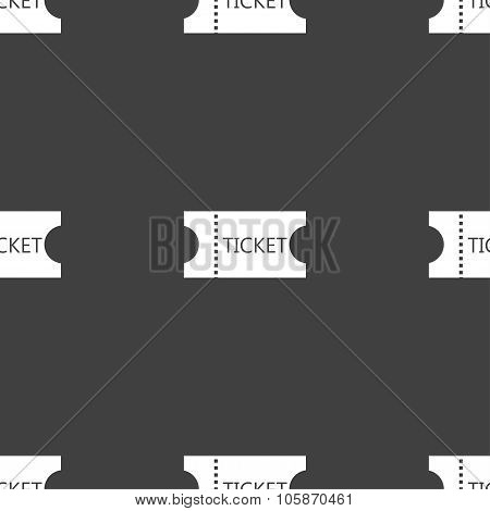 Ticket Icon Sign. Seamless Pattern On A Gray Background.