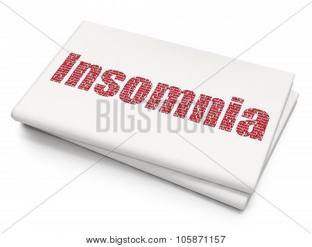 Medicine concept: Insomnia on Blank Newspaper background
