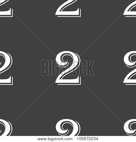 Second Place Award Sign. Winner Symbol. Step Two. Seamless Pattern On A Gray Background.