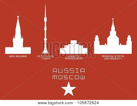 Russia Moscow city shape silhouette icon set -Red Square, Ostankino Tower, Lenin's Mausoleum, State