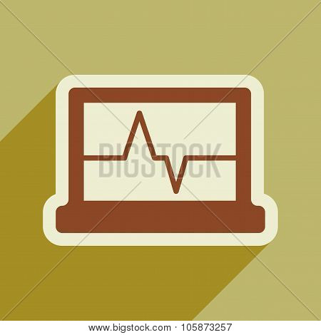 Icon of ECG machine in flat style