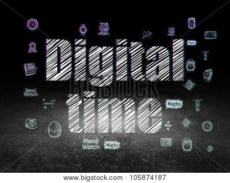 Time concept: Digital Time in grunge dark room