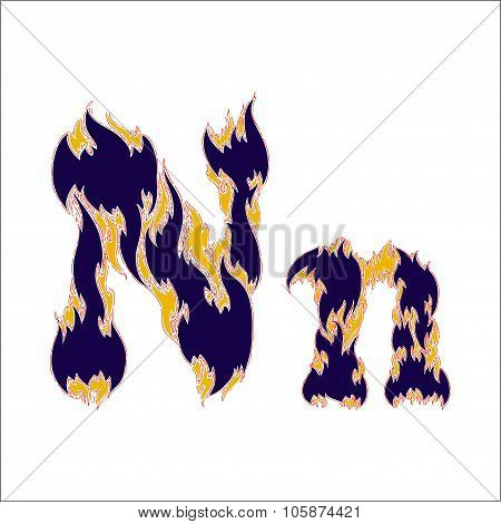 fiery font blue letter N on a white background