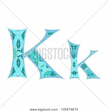 Low poly letter K in blue mosaic polygon