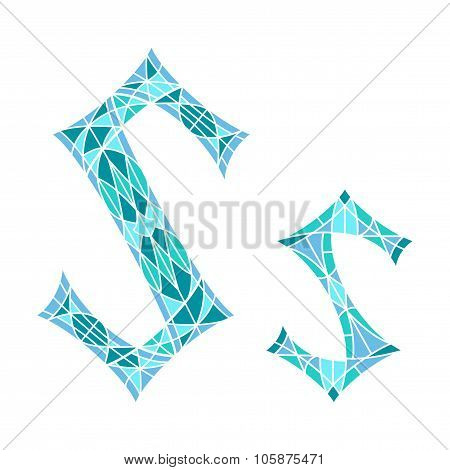 Low poly letter S in blue mosaic polygon