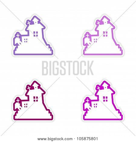 assembly realistic sticker design on paper haunted house