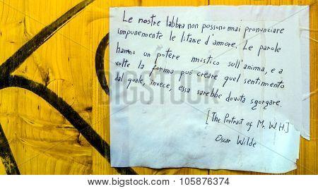 Oscar Wilde Quotation On Public Wall