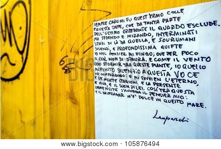 Giacomo Leopardi Quotation On Public Wall