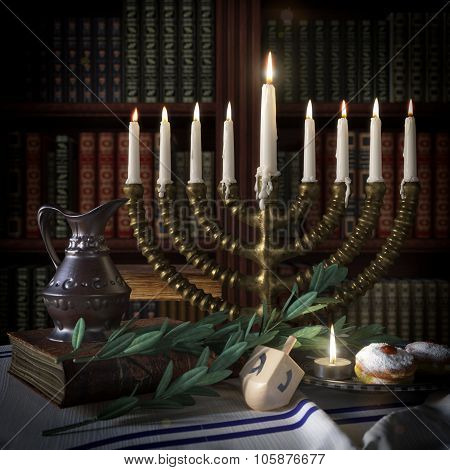 hanukkah background with candles, donuts, spinning top and old books