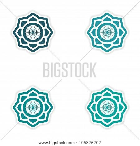 Set of stickers Indian sign on white background