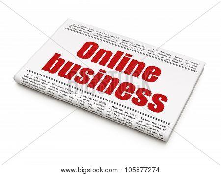 Business concept: newspaper headline Online Business