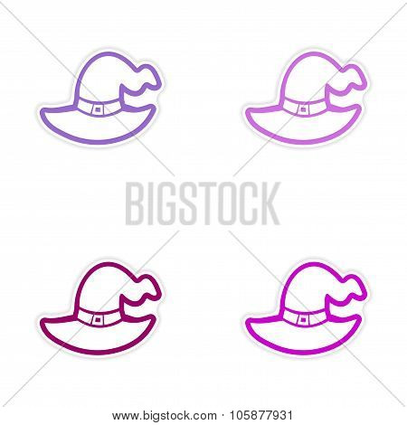assembly realistic sticker design on paper Witch's hat