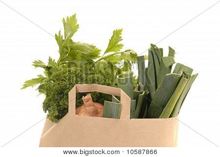 Brown Kraft Paper Bag Fulle Of Vegetables