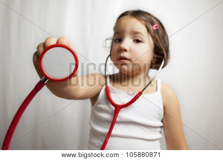 Showing Her Stethoscope