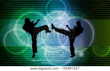 Karate training, vector