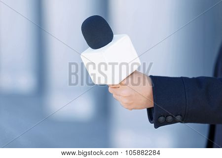 Close up of journalistic portable microphone.