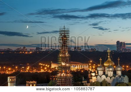Novodevichy Convent during renovation at moonlit night in Moscow