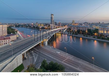 Moskva River and Big Krasnokholmsky bridge at evening in Moscow. Long exposure