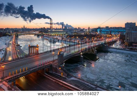 Bridge of Bogdan Khmelnitsky, Borodinsky bridge on Moskva river in winter evening in Moscow