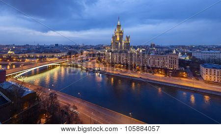 High-rise building on Kotelnicheskaya embankment at evening in Moscow