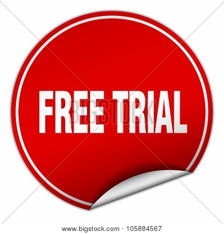 Free Trial Round Red Sticker Isolated On White
