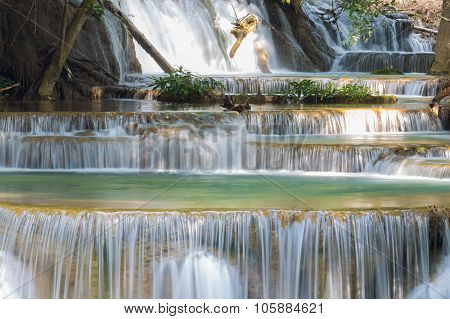 Close up blue stream waterfalls in deep forest in national park