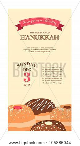 Happy Hanukkah greeting card , party invitation